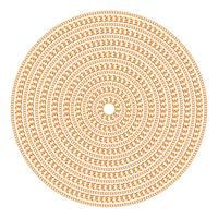 Padrão redondo feito com correntes de ouro. Isolado no fundo branco. Ilustração vetorial