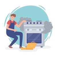 homem consertando forno danificado vetor