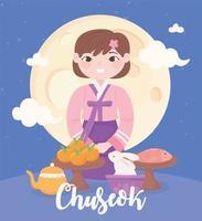 chuseok festivo, cartão comemorativo vetor