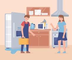 consertar a geladeira do homem vetor