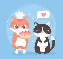 desenhos animados gatos fofos vetor