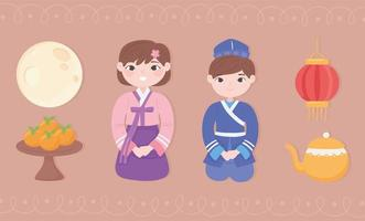 ícones definidos povos coreanos vetor