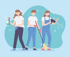 pessoas limpando casa vetor