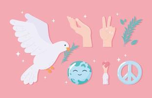 conjunto de ícones de paz e amor vetor
