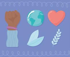 mundo contra a discriminação racial vetor