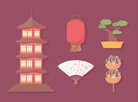 conjunto da cultura japonesa vetor