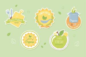conjunto de comida orgânica vetor