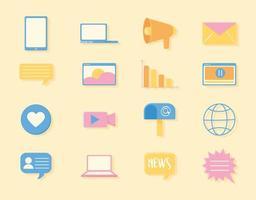 mídia social digital vetor