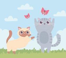 gatinhos fofos brincando vetor