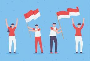 pessoas com bandeira da indonésia vetor