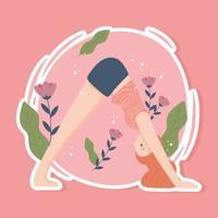 mulher desportiva praticando ioga vetor