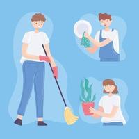pessoas fazendo limpeza vetor