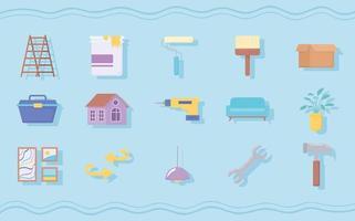 ícones de melhoramento da casa vetor