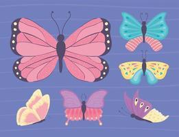 conjunto diferente de borboletas vetor