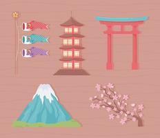 conjunto de cultura e tradição japonesa vetor