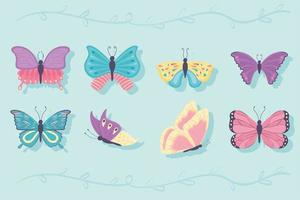 conjunto de desenho de borboleta vetor