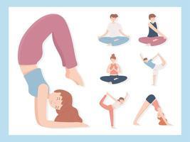 conjunto de pessoas fazendo ioga vetor