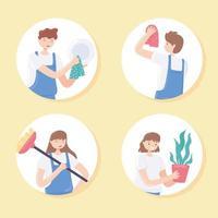 pessoas limpando atividades domésticas vetor