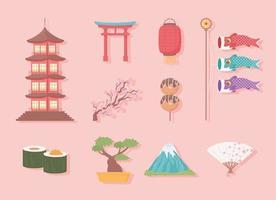 ícones definem a cultura japonesa vetor