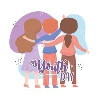 celebrando feliz dia da juventude vetor
