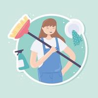 garota feliz limpando vetor