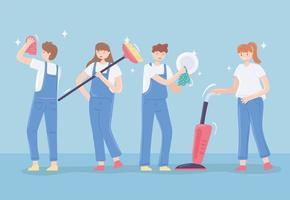 mulheres e homens limpando vetor
