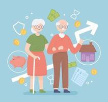 aposentadoria velho e mulher vetor