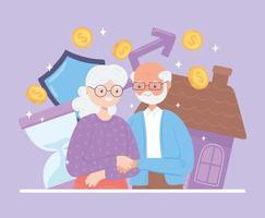 velho casal de aposentados vetor