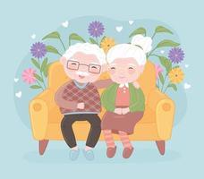 velho casal fofo sorrindo vetor