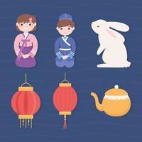 conjunto de cultura coreana vetor