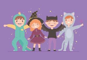 grupo de crianças com fantasias vetor