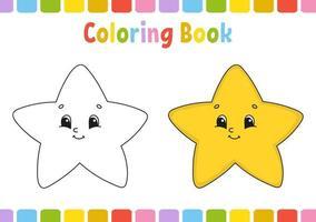 Estrela. livro de colorir para crianças. personagem alegre. ilustração vetorial. estilo bonito dos desenhos animados. desenhado à mão. página de fantasia para crianças. isolado no fundo branco. vetor