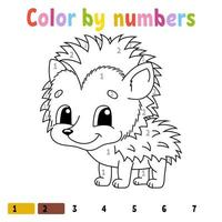 cor por números. livro de colorir para crianças. personagem alegre. ilustração vetorial. estilo bonito dos desenhos animados. desenhado à mão. página de fantasia para crianças. isolado no fundo branco. vetor