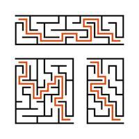 um conjunto de labirintos. jogo para crianças. quebra-cabeça para crianças. enigma do labirinto. ilustração vetorial. vetor