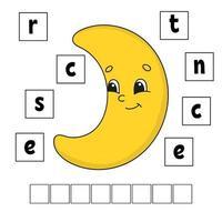 quebra-cabeça de palavras. planilha de desenvolvimento educacional. jogo de aprendizagem para crianças. página de atividades. quebra-cabeça para crianças. enigma para a pré-escola. ilustração em vetor plana simples simples no estilo bonito dos desenhos animados.