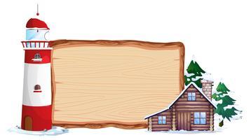 Placa de madeira e casa de inverno