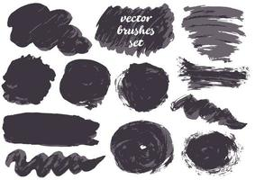 coleção de tinta, pinceladas de tinta, pincéis, manchas vetor