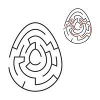 labirinto oval preto. jogo para crianças. quebra-cabeça para crianças. feriado, ovo, páscoa. enigma do labirinto. ilustração em vetor plana isolada no fundo branco. com resposta.