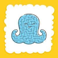 labirinto de cor polvo bonito do bebê. planilhas para crianças. página de atividades. jogo de quebra-cabeça para crianças. vida marinha. enigma do labirinto. ilustração vetorial. vetor