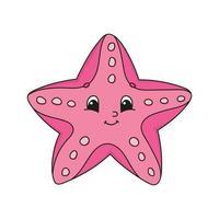 estrela do mar rosa. ilustração em vetor plana fofa em estilo cartoon infantil. personagem engraçado. isolado no fundo branco.