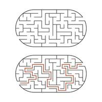 labirinto oval preto. jogo para crianças. quebra-cabeça para crianças. enigma do labirinto. ilustração em vetor plana isolada no fundo branco. com a resposta.