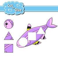 corte e cole. planilha de desenvolvimento de educação. página de atividades. jogo para crianças. ilustração vetorial isolada no estilo bonito dos desenhos animados. vetor