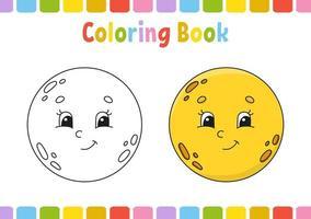 lua. livro de colorir para crianças. personagem alegre. ilustração vetorial. estilo bonito dos desenhos animados. desenhado à mão. página de fantasia para crianças. isolado no fundo branco. vetor