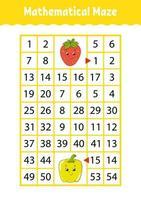 labirinto matemático. jogo para crianças. labirinto engraçado. planilha de desenvolvimento educacional. página de atividades. quebra-cabeça para crianças. estilo bonito dos desenhos animados. enigma para a pré-escola. enigma lógico. ilustração do vetor de cor.