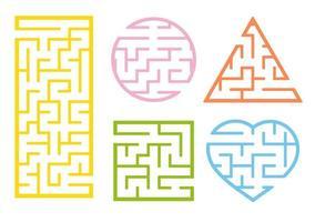 um conjunto de labirintos. estilo dos desenhos animados. planilhas visuais. página de atividades. jogo para crianças. quebra-cabeça para crianças. enigma do labirinto. ilustração do vetor de cor.