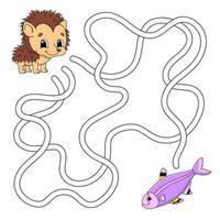 labirinto engraçado. jogo para crianças. quebra-cabeça para crianças. estilo dos desenhos animados. enigma do labirinto. ilustração do vetor de cor. encontre o caminho certo. o desenvolvimento do pensamento lógico e espacial.