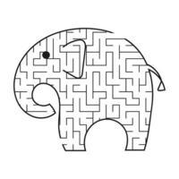 elefante preto dos desenhos animados do labirinto. planilhas para crianças. página de atividades. jogo de quebra-cabeça para crianças. animal selvagem. enigma do labirinto. ilustração vetorial. vetor