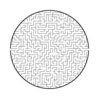 difícil labirinto redondo grande. jogo para crianças e adultos. quebra-cabeça para crianças. enigma do labirinto. ilustração em vetor plana isolada no fundo branco.