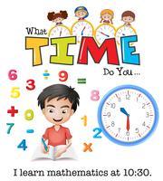 Um menino aprende matemática às 10:30 vetor