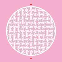 difícil labirinto grande e redondo. jogo para crianças e adultos. quebra-cabeça para crianças. enigma do labirinto. ilustração vetorial plana. vetor